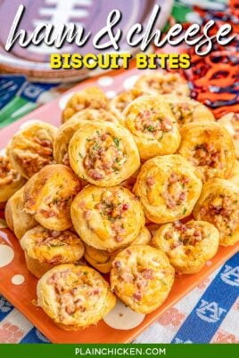 platter of ham and cheese stuffed biscuit bites