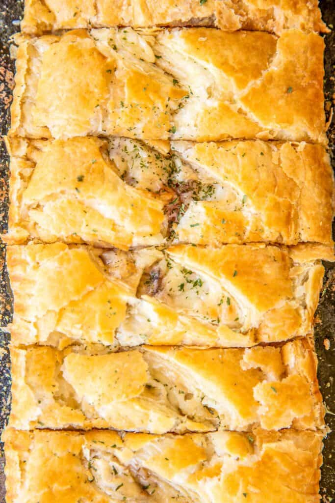 sliced puff pastry ham & cheese slab pies
