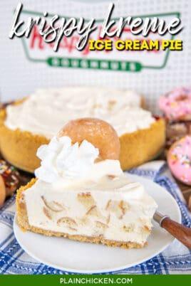 slice of krispy kreme doughnut ice cream pie