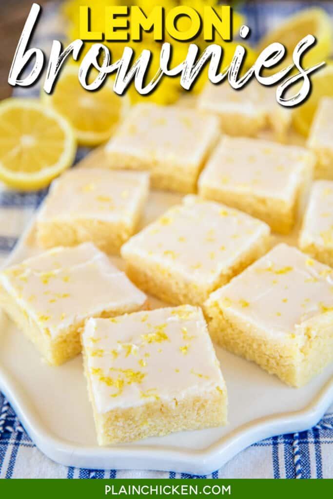 platter of lemon brownies