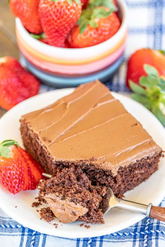 slice of chocolate cake with strawberries