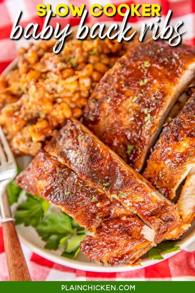 plate of slow cooker baby back ribs