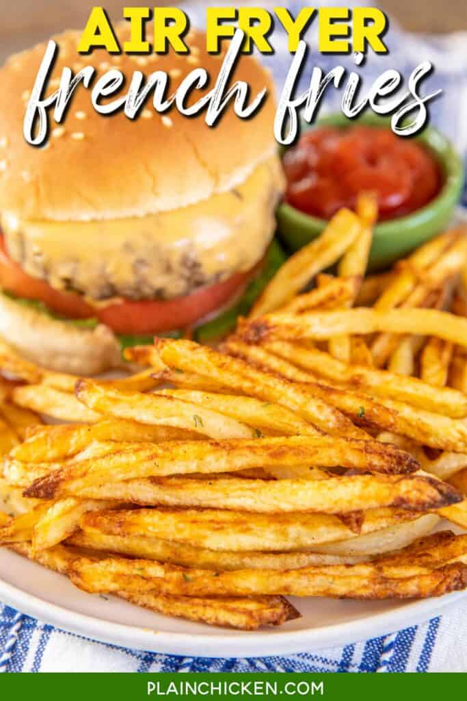 plate of fries with a burger and ketchup