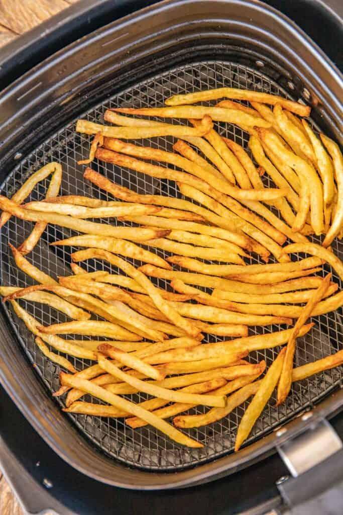 air fryer basket of fries