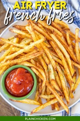 plate of french fries and ketchup