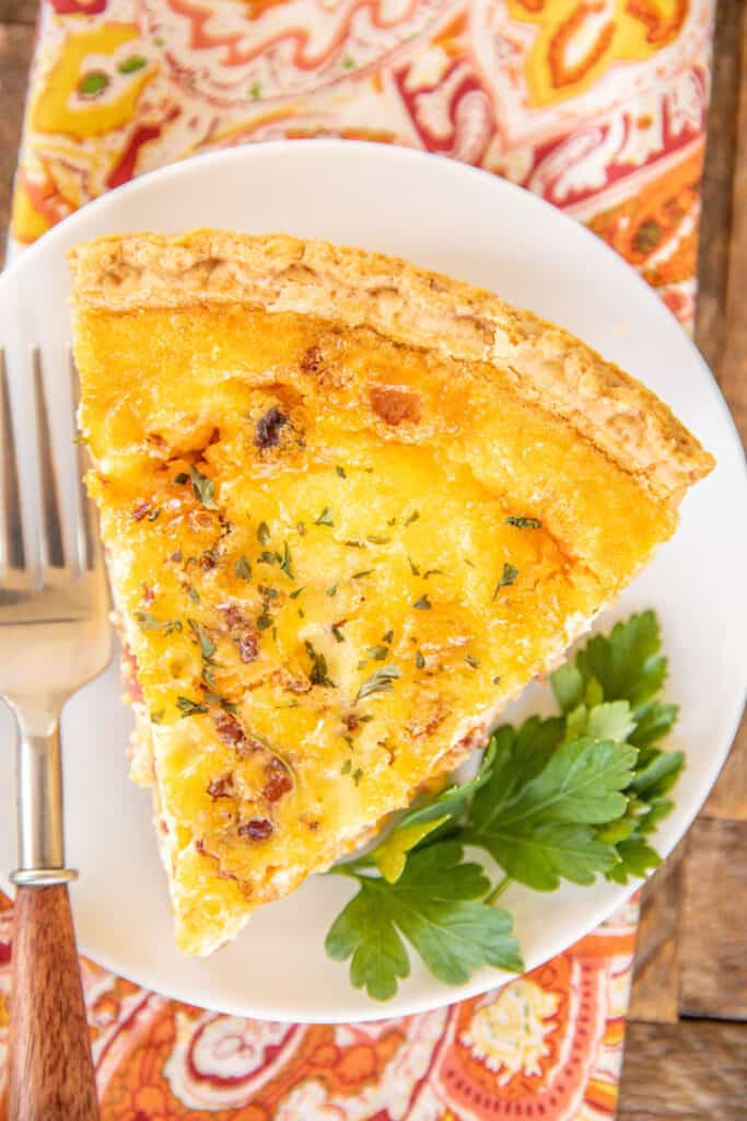 slice of pimento cheese quiche on a plate