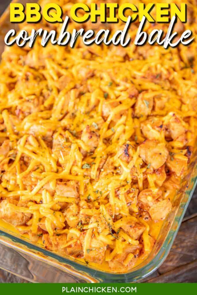 baking dish of bbq chicken casserole