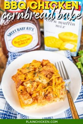 plate of bbq chicken cornbread casserole