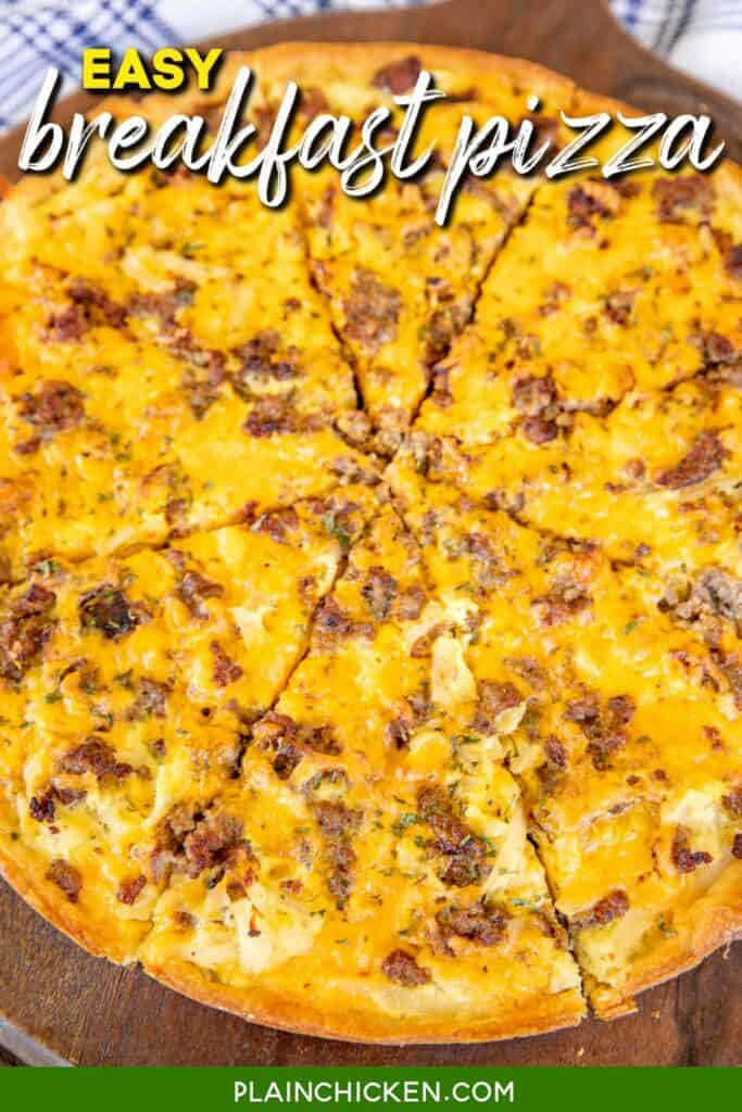 breakfast pizza on a platter with text overlay