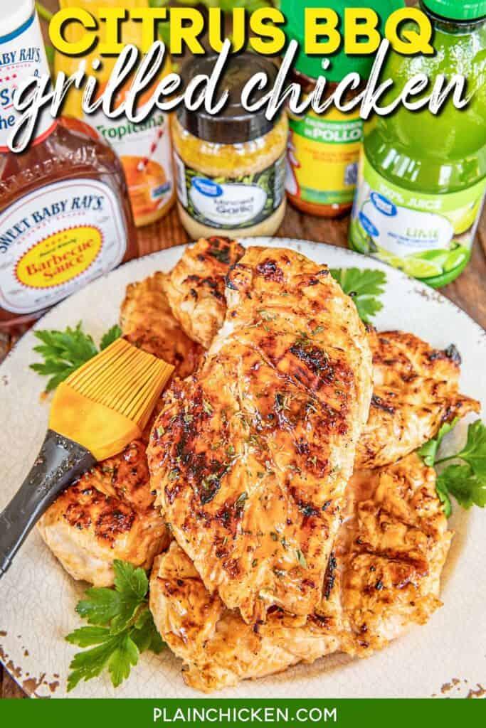 platter of grilled bbq chicken