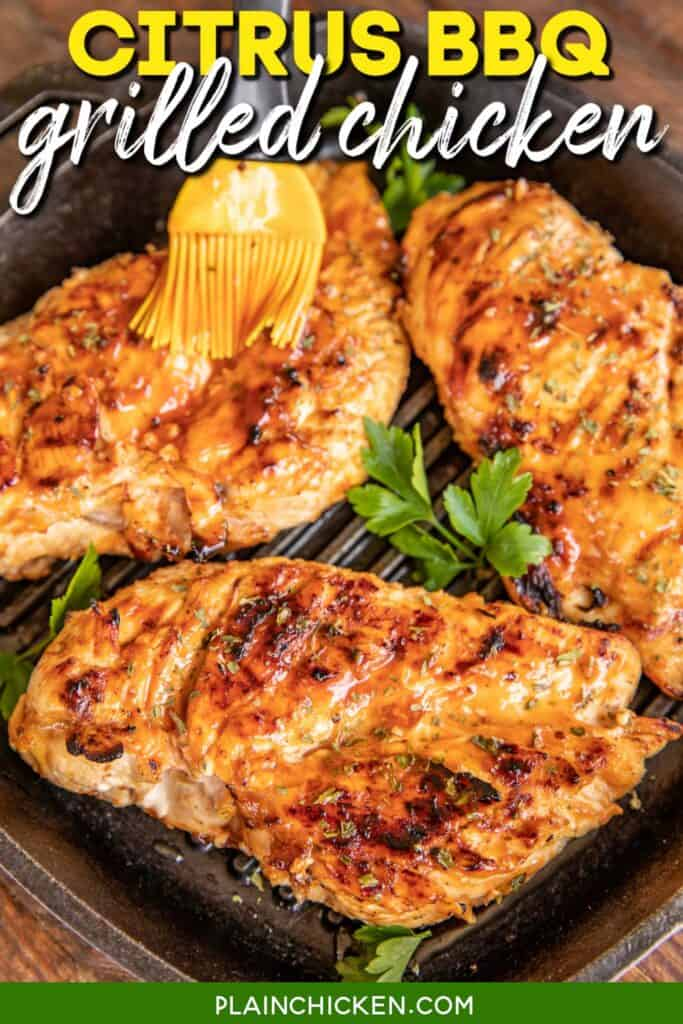 grilled chicken in a cast iron grill pan