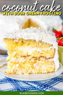 slice of coconut cake on a plate