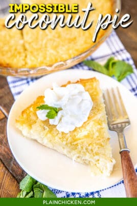 slice of coconut pie on a plate with text overlay