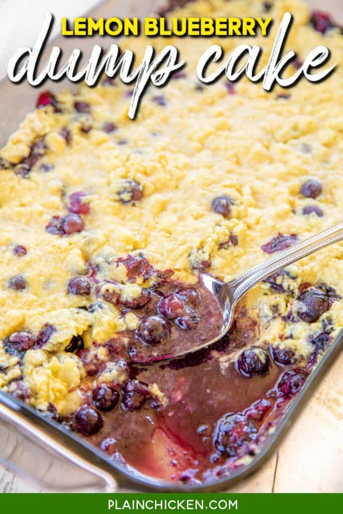 baking dish of blueberry dump cake with text overlay