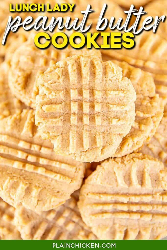 plate of peanut butter cookies with text overlay