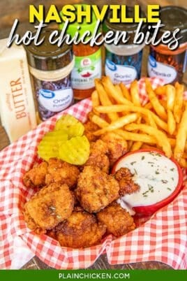 basket of hot chicken nuggets and fries with text overlay