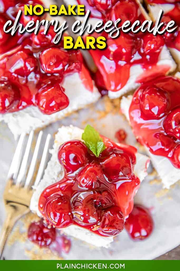 cherry topped cheesecake bars with text overlay