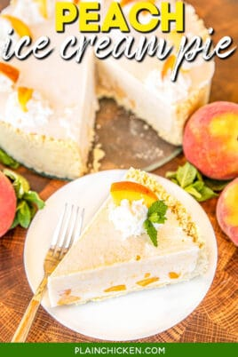 slice of peach ice cream pie on a plate
