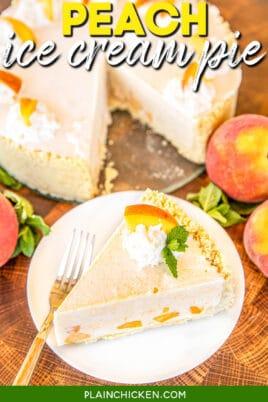 slice of peach ice cream pie on a plate