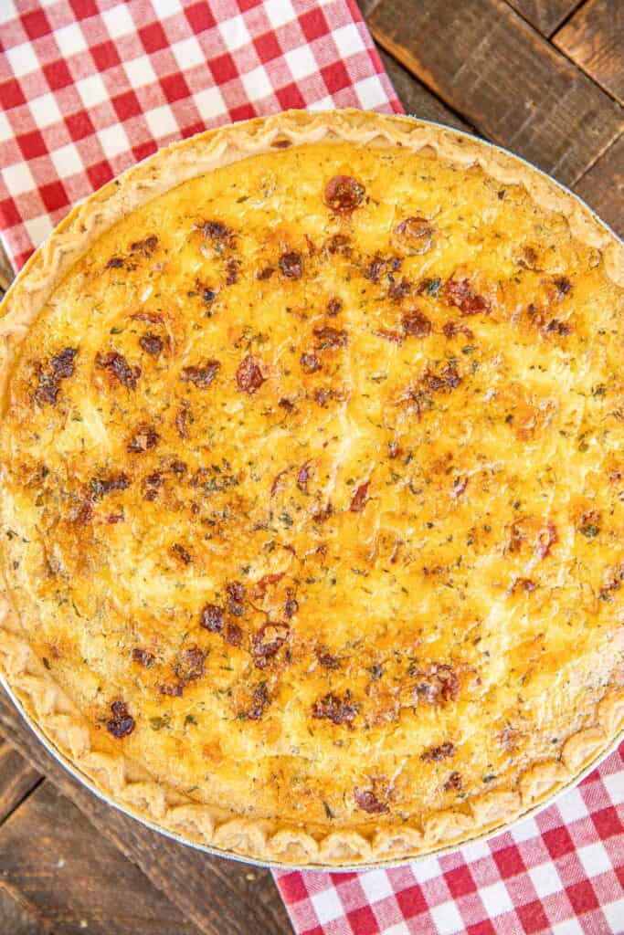 whole quiche on a table