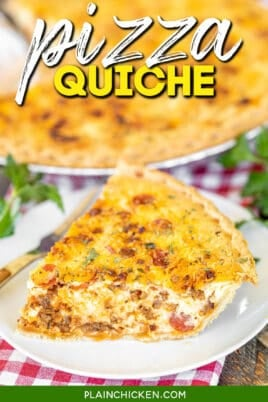 slice of quiche on a plate with text overlay
