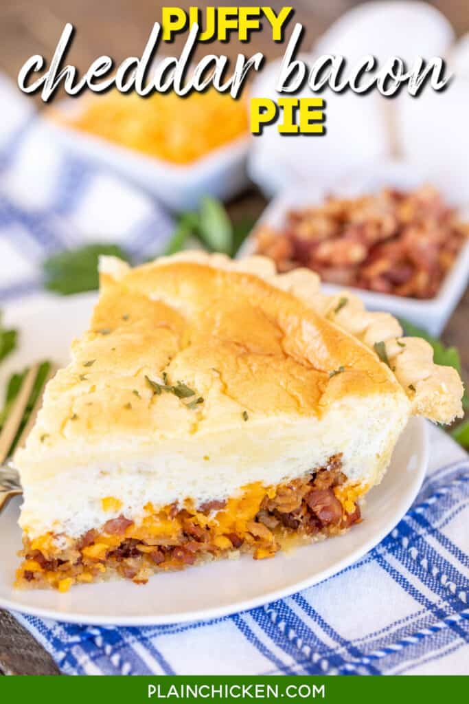 slice of savory cheddar bacon pie on a plate