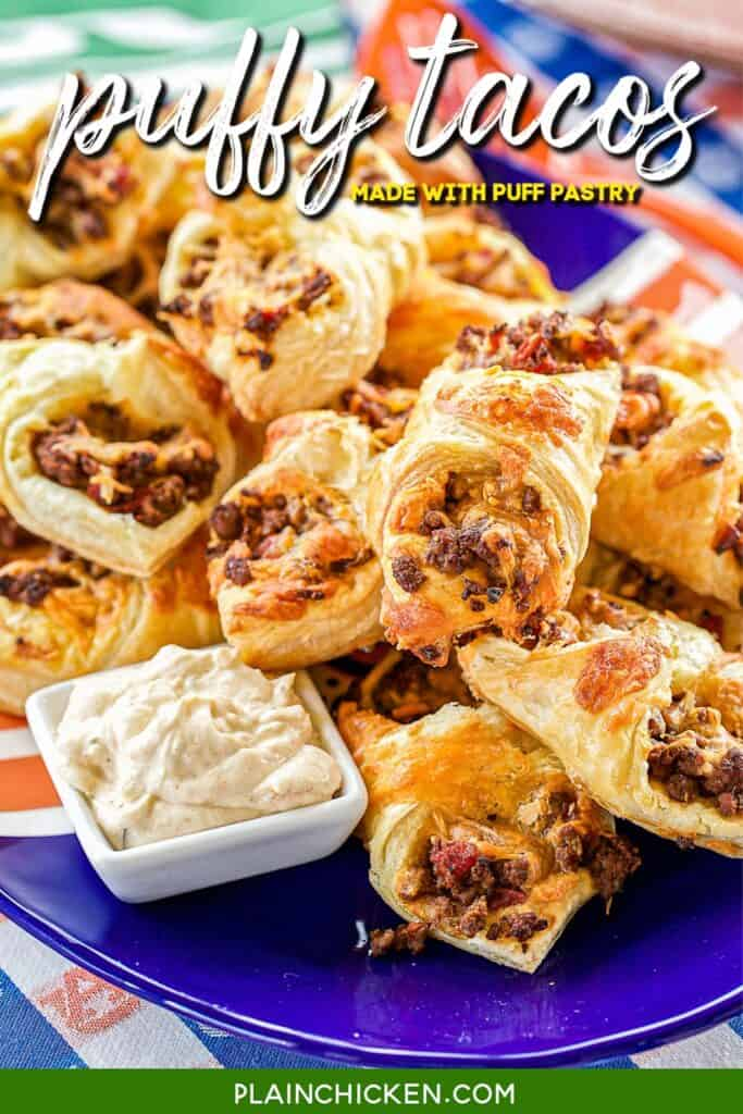platter of puff pastry tacos