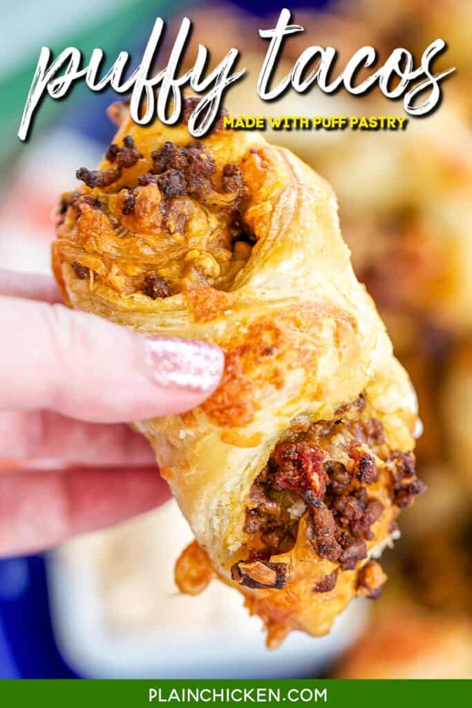 holding a puff pastry tacos