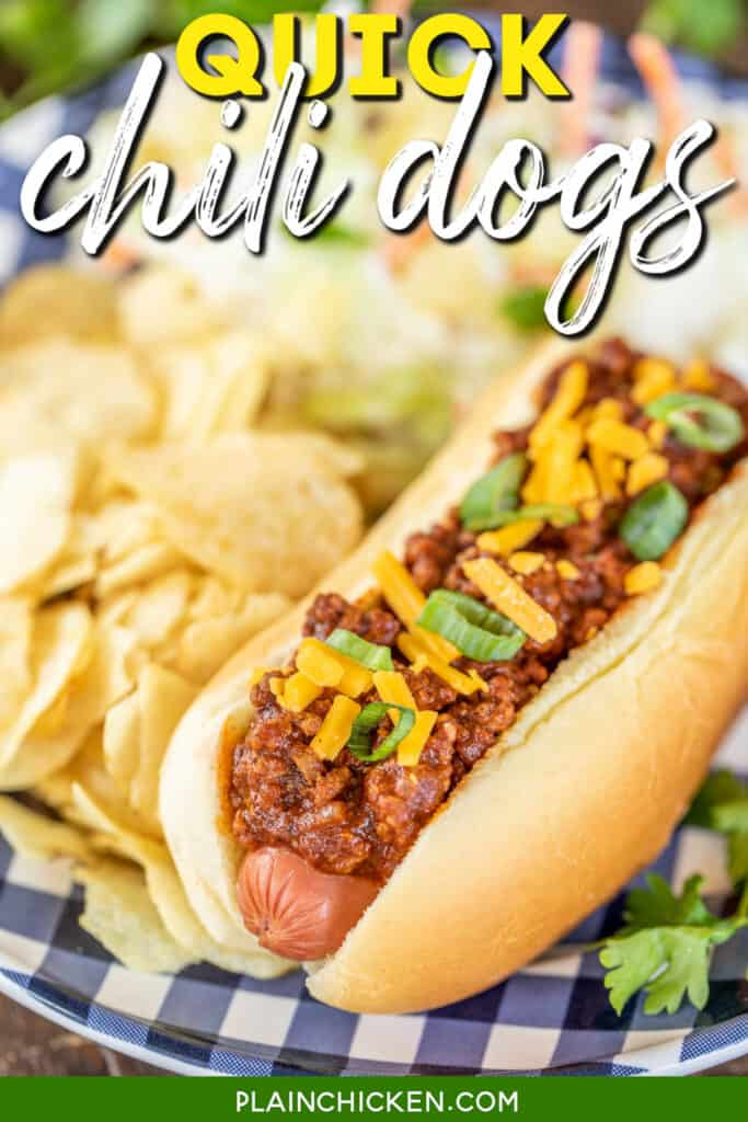 chili dog on a plate topped with cheese and onions