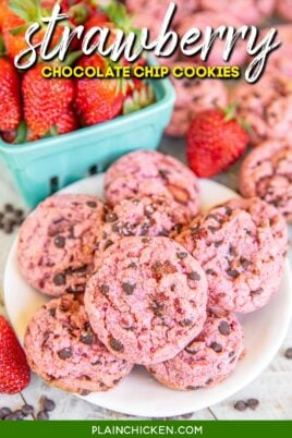 plate of strawberry chocolate chip cookies