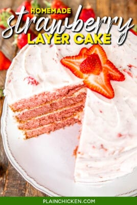 strawberry layer cake on a platter