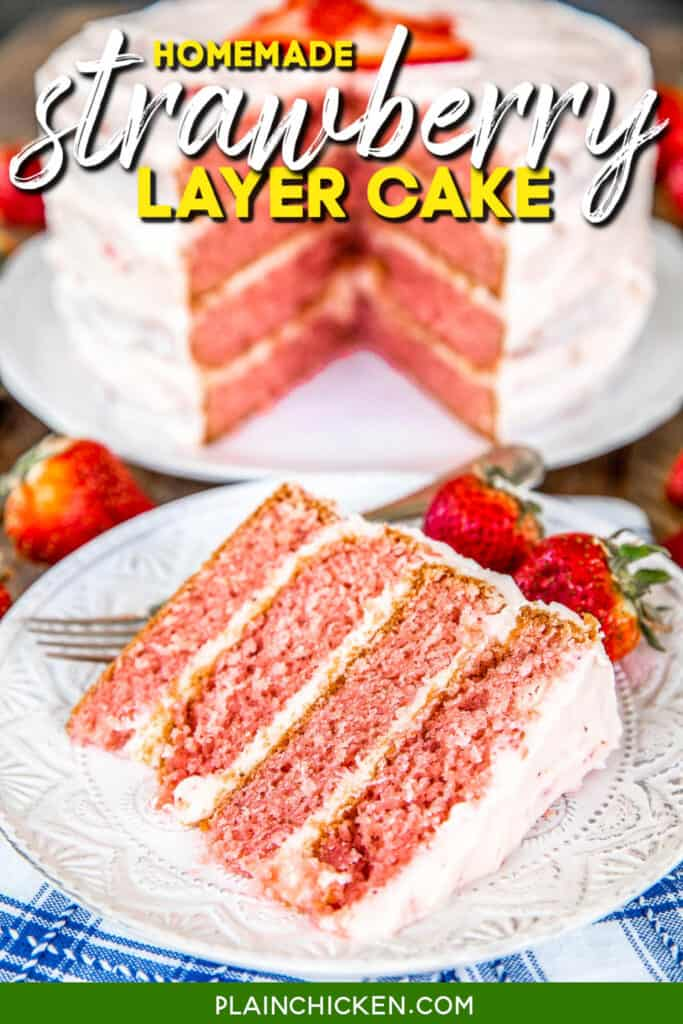 slice of strawberry cake on a plate