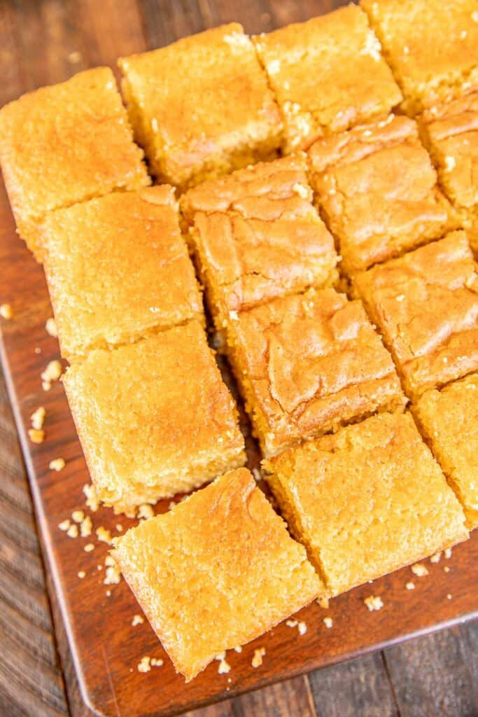 platter of cornbread cut into squares