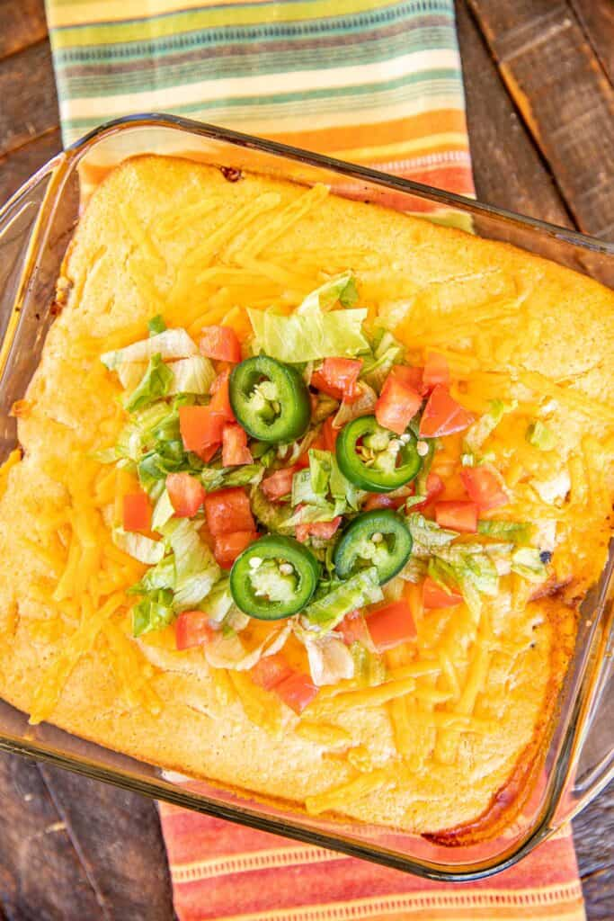baking dish of taco cornbread casserole