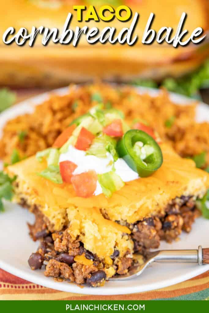 slice of cornbread taco casserole cut with a fork