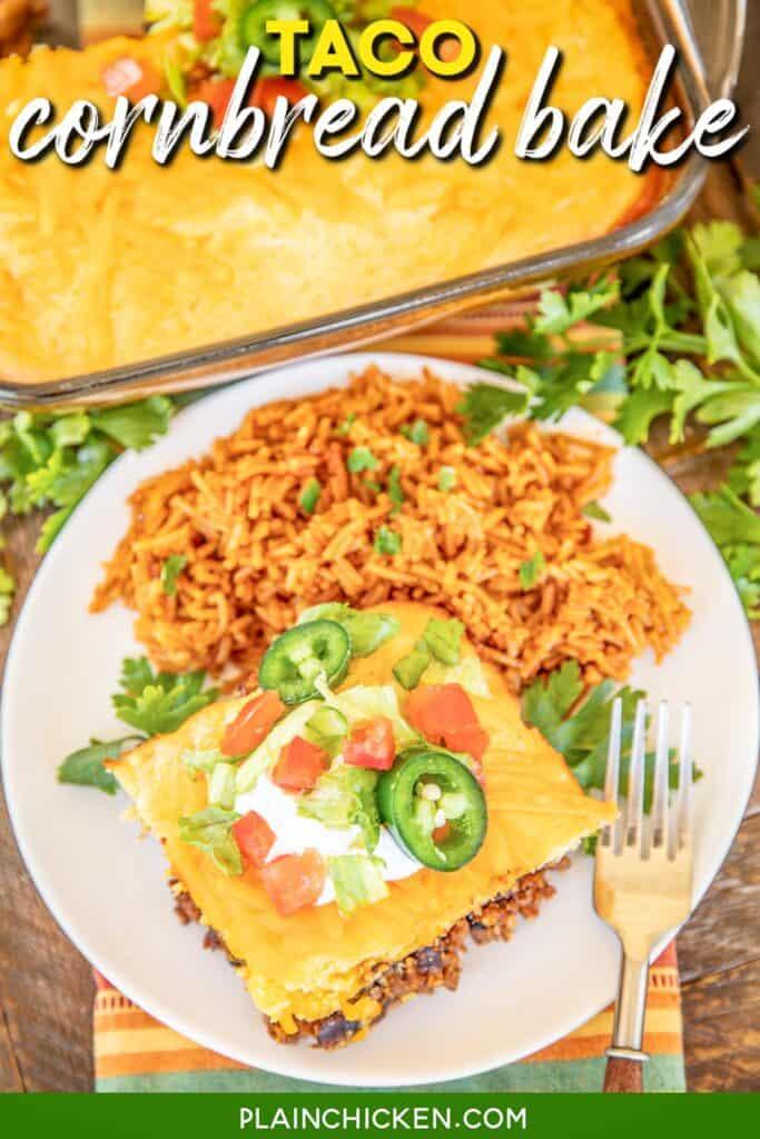 slice of cornbread taco casserole on a plate with rice