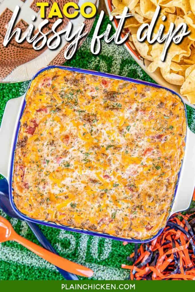 baking dish of taco dip