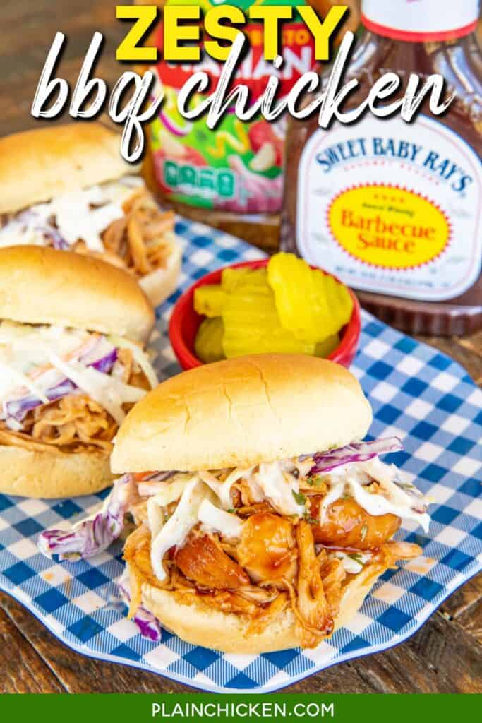 bbq chicken sandwich with slaw on a platter with text overlay