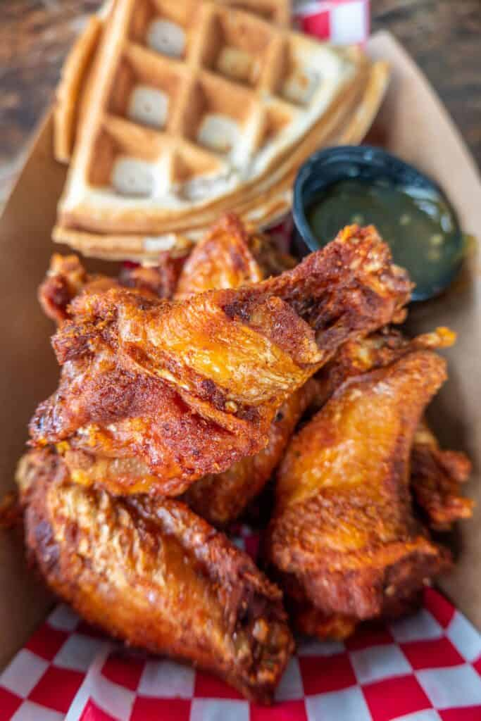 hot wings with waffles