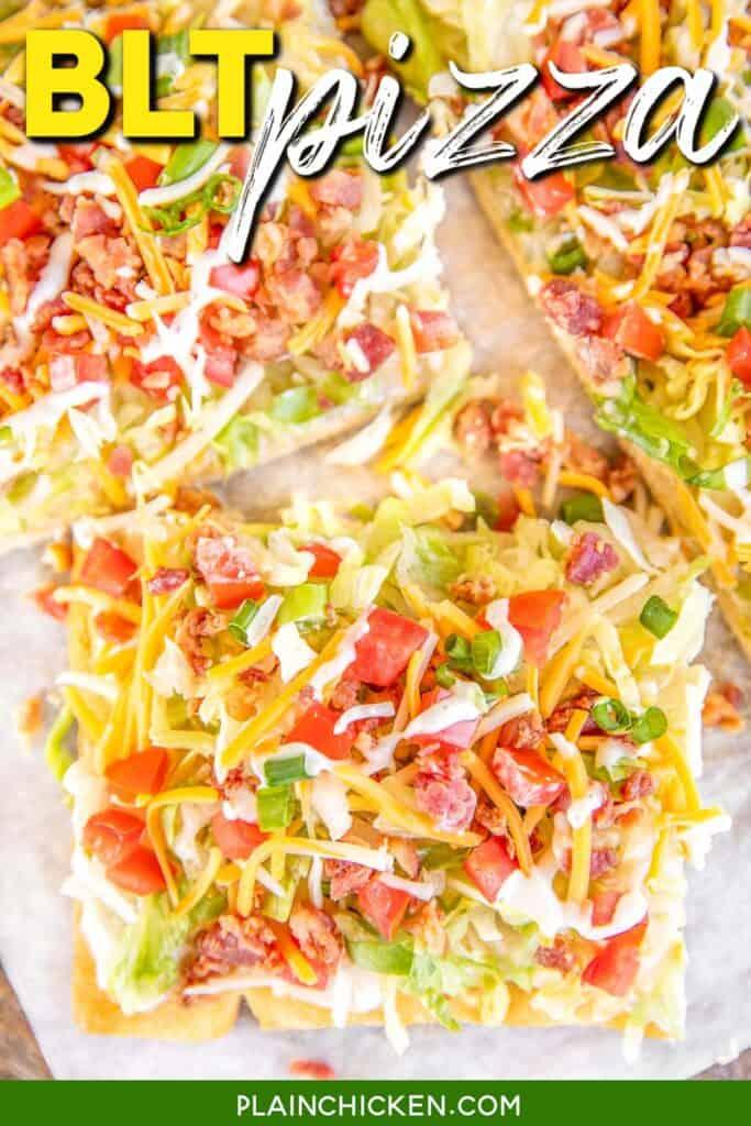 slices of BLT Pizza on a platter
