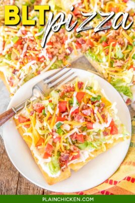 slice of BLT Pizza on a plate