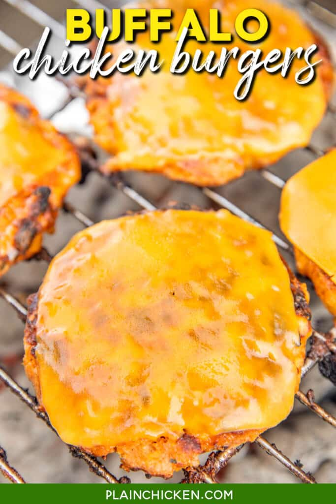 cheese topped chicken burgers on the grill