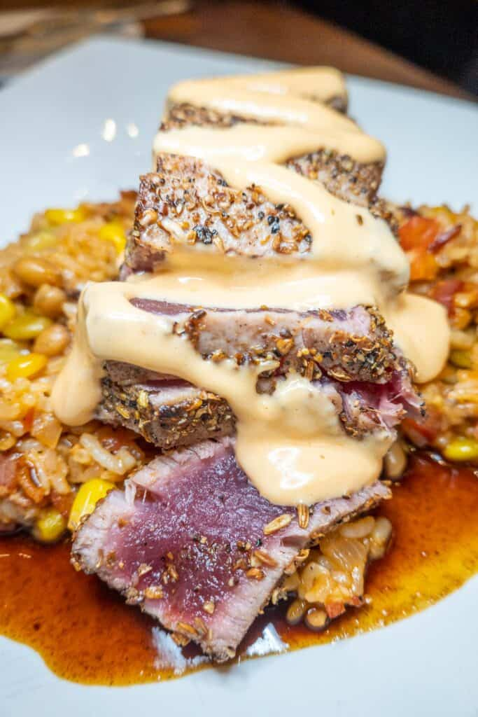 plate of rare ahi tuna