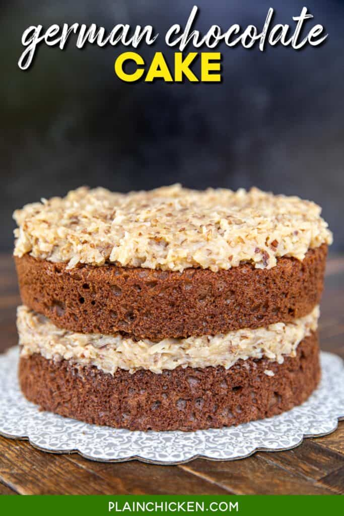 german chocolate cake on a plate on the table