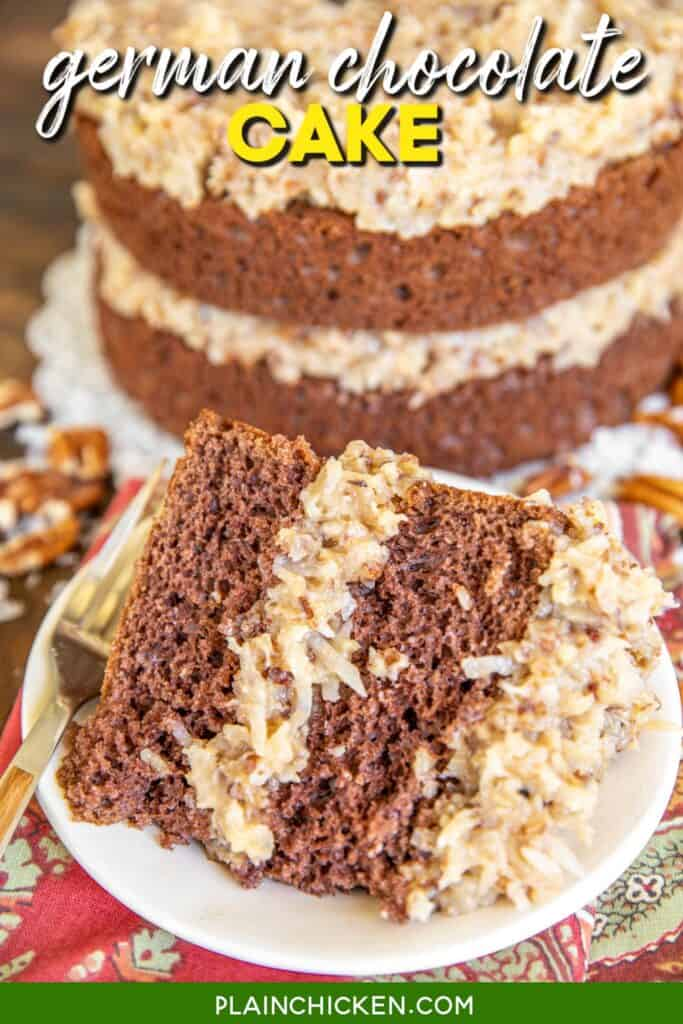 a slice of german chocolate cake on a plate