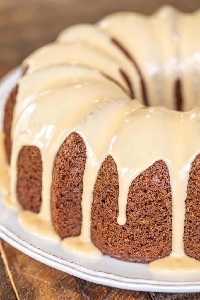 bundt cake topped with glaze