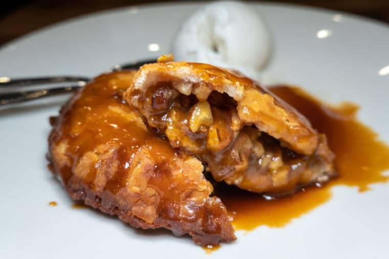 fried pecan pie with caramel sauce