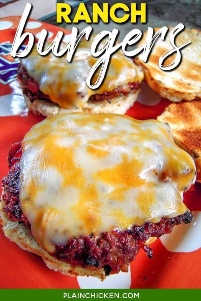 plate of cheeseburgers