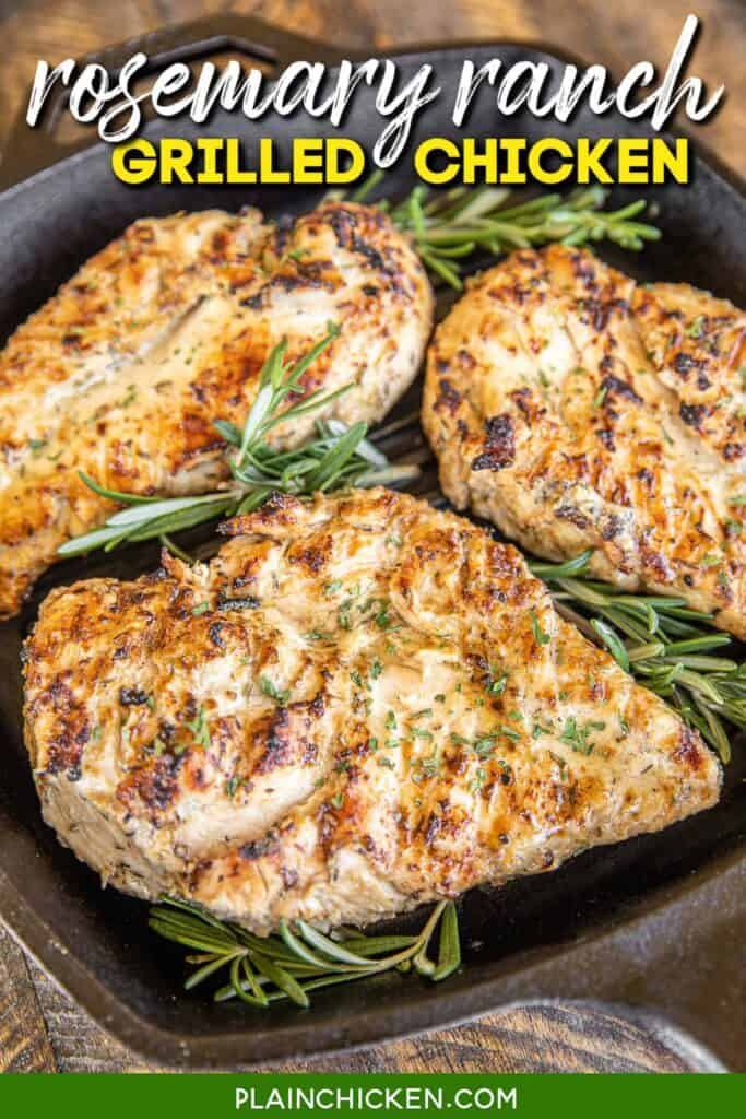 cooked chicken in a cast iron grill pan