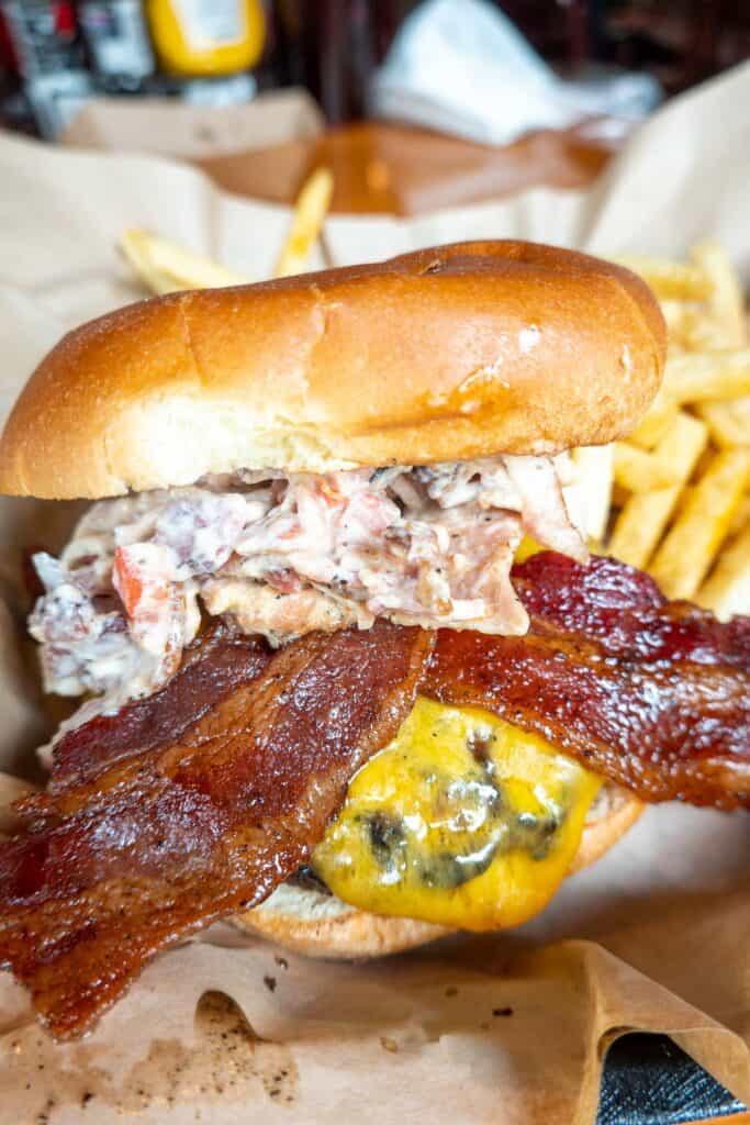 basket of bacon cheeseburger and fries